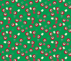 Christmas Gumdrops Green Red Cream fabric by wickedrefined on Spoonflower - custom fabric #fabric #pattern #christmas #holidays #giftwrap #vintage