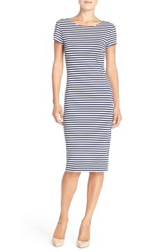 Free shipping and returns on FELICITY & COCO Stripe Short Sleeve Sheath Dress (Nordstrom Exclusive) at Nordstrom.com. Thin navy-and-white stripes lend a preppy, nautical vibe to a double-knit, figure-flattering sheath styled with an elegant jewel neckline and short sleeves.