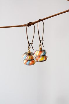 Orange Yellow Blue Lampwork Earrings, Stacked Art Bead Earrings, Mother's Day BFF Birthday Gift for Her Mom Sister Aunt under 30 USD