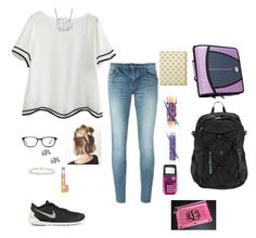 """""""First day of school contest"""" by oliviacat1215 ❤ liked on Polyvore featuring Yves Saint Laurent, NIKE, Allurez, Vera Bradley, Kate Spade, My Name Necklace, GlassesUSA, Burt's Bees, Patagonia and vintage"""