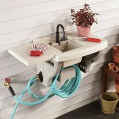 Positioned at the shed, garage or house, this convenient wall sink is great for washing vegetables, garden tools and hands.