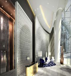 Rendering of the lower lobby at the Four Seasons Guangzhou, designed by HBA/Hirsch Bedner Associates.