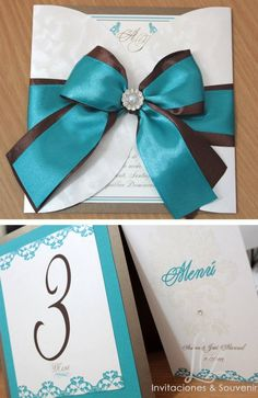 Turquoise and brown!! Invitacion de boda, menu y numero de mesa. / turquoise blue and brown wedding invitation, menu and table number!