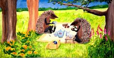 Valerie Cuthbert - Artist: Hedgehogs Tea Party