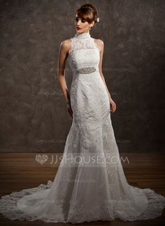 Trumpet/Mermaid High Neck Chapel Train Satin Tulle Wedding Dress With Lace Beading (002001234) - JJsHouse