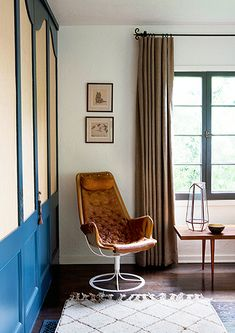 the wardrobe. color - midsummer gale from pratt & lambert. Bruno Mathsson Jetson Chair in Glenn Lawson Spanish Colonial by DISC Interiors Living Spaces, Living Room, Interior Decorating, Interior Design, Decorating Ideas, Piece A Vivre, Beautiful Interiors, Decoration, My Dream Home