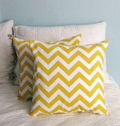 chevron yellow throw pillow covers