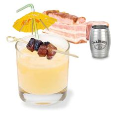 "Jack Daniel's Smokey Sour Cocktail.  Yes, that's right! A Bacon Drink! Repeat after me… ""Everything is better with Bacon!"""