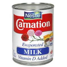 Evaporated milk is an American made product but we always used it in my household to make cafe con leche   -  Carnation Evaporated Milk / Leche Evaporada Carnation
