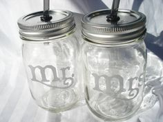 Mr and Mrs Mason Jars Wedding Party with by bittersweetlemonade, $22.50. Will someone please get these for me, with the carrier?! LOVE THEM!