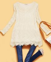 Beige Long Sleeve Hollow Embroidery Lace Blouse $32.8