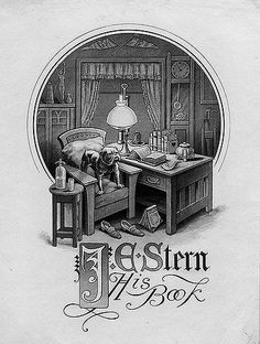 ex libris | bookplate of J.E. Stern | Description: States, 'J.E. Stern - His Book;' depicts a man's room, with a bulldog, books, and Harvard and Yale pennants. Unsigned.  Format: 1 print, b&w, 13 x 9 cm.  Source: Pratt Institute Libraries, Special Collections 998 (sc00067)   Pratt Libraries Website For inquiries regarding permissions and use fees, please contact: rightsandrepro.library@pratt.edu.