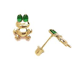 Green Eyed Frog Earrings for Kids with Screw Backs from www.thejewelryvine.com