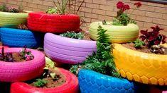 bunt reifen pflanzen Gartendeko DIY gartengestaltung