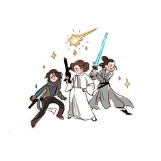 """""""Jyn, Leia, and Rey. Tap the pin now to grab yourself some BAE Cosplay leggings and shirts! From super hero fitness leggings, super hero fitness shirts, and so much more that wil make you say YASSS! Star Wars Fan Art, Star Trek, Meninas Star Wars, Princesa Leia, Star War 3, Love Stars, Reylo, Nerd Geek, Cultura Pop"""