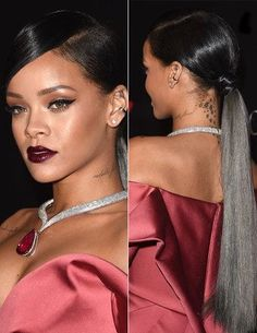 If you hair is chin-length or loner, comb it straight up, twist a few times, then coil up and pin high on your head. Rihanna Ponytail, Slick Ponytail, Weave Ponytail, Ponytail Styles, Curly Hair Styles, Natural Hair Styles, Prom Hairstyles, My Hairstyle, Black Girls Hairstyles
