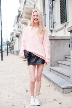 what-do-i-wear:    H Mohair jumper and skirt, Converse all stars, Vintage Chanel bag. (image: mypreciousconfessions)