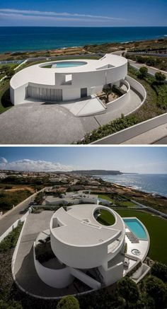 Casa de un solo piso, presentamos una fachada que combina Madera y Ladrillo Mario Martins Atelier have designed this modern and sculptural house in Luz, Portugal, that's based on the geometric shape of an ellipse. Landscape Architecture Design, Modern Architecture House, Futuristic Architecture, Residential Architecture, Modern House Design, Amazing Architecture, Interior Architecture, Mario Martin, Unique Buildings