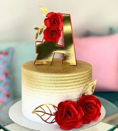 Birthday Cake Roses, 25th Birthday Cakes, Elegant Birthday Cakes, Birthday Wishes Cake, Beautiful Birthday Cakes, Birthday Cake Girls, Beautiful Cake Designs, Beautiful Cakes, Amazing Cakes