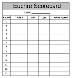 Euchre Payout Table For  Buy In For Euchre Tournament  Euchre