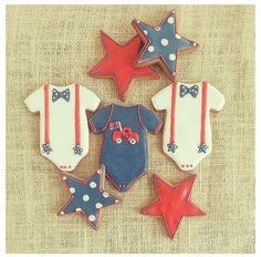 Baby sugar cookies Baby Boy Cookies, Onesie Cookies, Fancy Cookies, Sugar Cookies, Baby Onesie, Onesies, Brownie Cookies, Baby Party, Fourth Of July