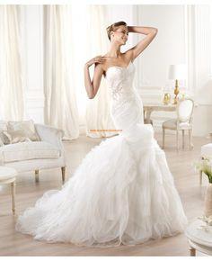 2014 Moderne Brautkleider aus Softnetz und Satin Meerjungfrau
