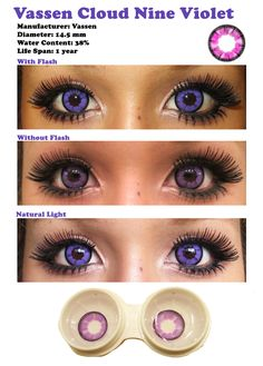 Color Contacts for Dark Eyes | Vassen Cloud Nine Violet sponsored review by Shoppingholics.com