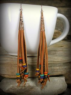 Bohemian Earrings Leather Beaded Earrings by StoneWearDesigns