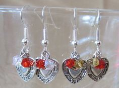 Handmade Detailed Silver Plated Hearts & Crystals by Pizzelwaddels, $11.97