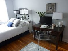 Joy's Less is Definitely More, I love her idea of bookcase as headboard with lamps at top of twin bed to save space!