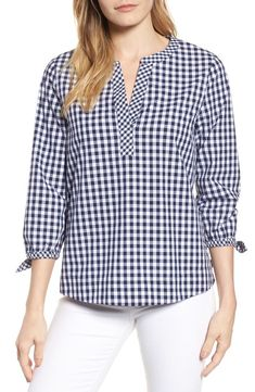 Vineyard vines mixed gingham tie sleeve top nordstrom рубашка в 2019 г. Lace Top Outfits, Girls Party Wear, Hippie Style Clothing, Style Clothes, Sewing Blouses, Casual Tops, Blouse Designs, Blouse Styles, Shirt Blouses