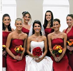 Love how each bridesmaid has the same color and fabric but with specific shapes to flatter I really like the scalloped strapless and one shoulder the best but thats just me