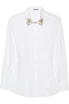 Miu Miu   Embellished-collar cotton shirt