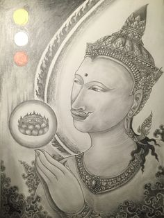 บูชาพระรัตนตรัย Pay respect to Tri Gems #thaiart #art #drawing #painting #deva