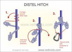 Distel Hitch - How to tie a Distel Hitch Emergency Preparedness Kit, Survival Prepping, Survival Skills, Paracord Knots, Rope Knots, Scout Knots, Survival Knots, Knots Guide, Knots Landing