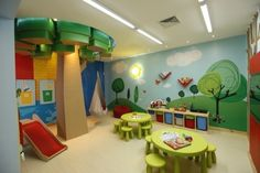 A mix of greens, yellows and oranges creating a stimulating and energetic environment for your kids! Zoning is also evident in this space, with the play area and reading area separated; brings some order to a usually chaotic space!