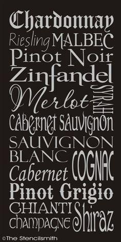 1272 - WINE-wine stencil list typography words wall merlot chardonnay subway cabernet