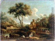 wooded river landscape with travellers - Gianbattista Cimaroli