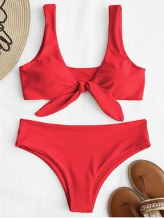 feb851c2bdb [21% OFF] 2019 ZAFUL Tie Front Padded Bikini Set In BRIGHT RED