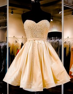 Charming Homecoming Dress,Satin Homecoming Dress,Sweetheart Homecoming Dress,Beading Homecoming