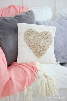 Anthropologie Inspired No Sew Heart Pillow