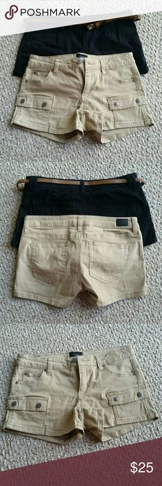 Size 5 short bundle Two size 5 shorts, worn only a handful of times. Black pair comes with brown belt. Khaki pair is more cargo style. These don't fit anymore. American Rag and Celebrity Pink brands, from Macys. My loss is your gain. Like new!!! Shorts