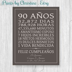 Celebrate your loved ones birthday with this special gift, using your words - IN SPANISH. Shown here with days and hours, children, grandchildren but you may use your own lines as long as they fit similar to the example. This is perfect for any year birthday and will be cherished