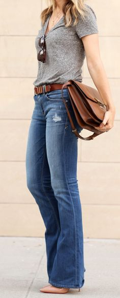 Helena Glazer is wearing flared jeans and grey T-Shirt from Express, shoes from Christian Loboutin and a bag from Celine