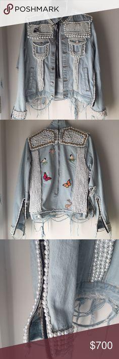 Denim Pearl jacket Custom 3500 Pearl denim jacket. $600 on anything else Balmain Jackets & Coats Jean Jackets