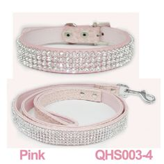 Pink Rhinestone Leather Dog Collar & Leash Set - this will be so pretty on my little girl!