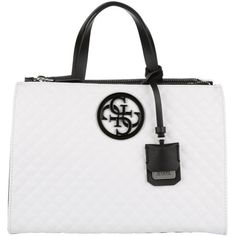 Guess Handle Bag - G Lux Status Satchel White Multi - in white, black... ($135) ❤ liked on Polyvore featuring bags, handbags, leopard purse, white handbags, leopard print purse, guess purses and white purse