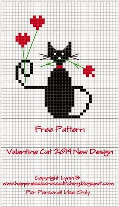 Happiness is Cross Stitching : Santa's Village progress and new Valentine mini cat pattern.
