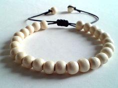 men's shamballa beaded bracelet handmade jewelry gift WHITE WOOD beads #Handmade #Shamballa #FormalandCasual