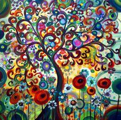 SUMMER DREAMS-Original Modern Whimsical Boho Edwardian Fantasy Flowers Garden Floral Landscape Colorful Summer Painting Modern Wall Décor Kids Room Décor- direct from artist gallery- artbyluizavizoli.com